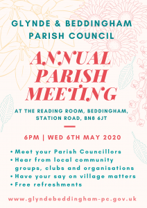 Advert for the Annual Parish Meeting taking place on 6th May 2020 at 6pm, the Reading Room, Beddingham