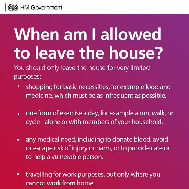 Government advice regarding leaving the house during Covid-19