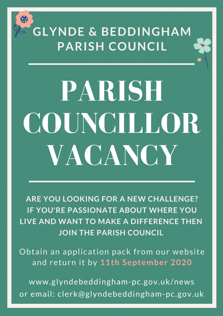 Advert for the role of Parish Councillor on Glynde and Beddingham Parish Council