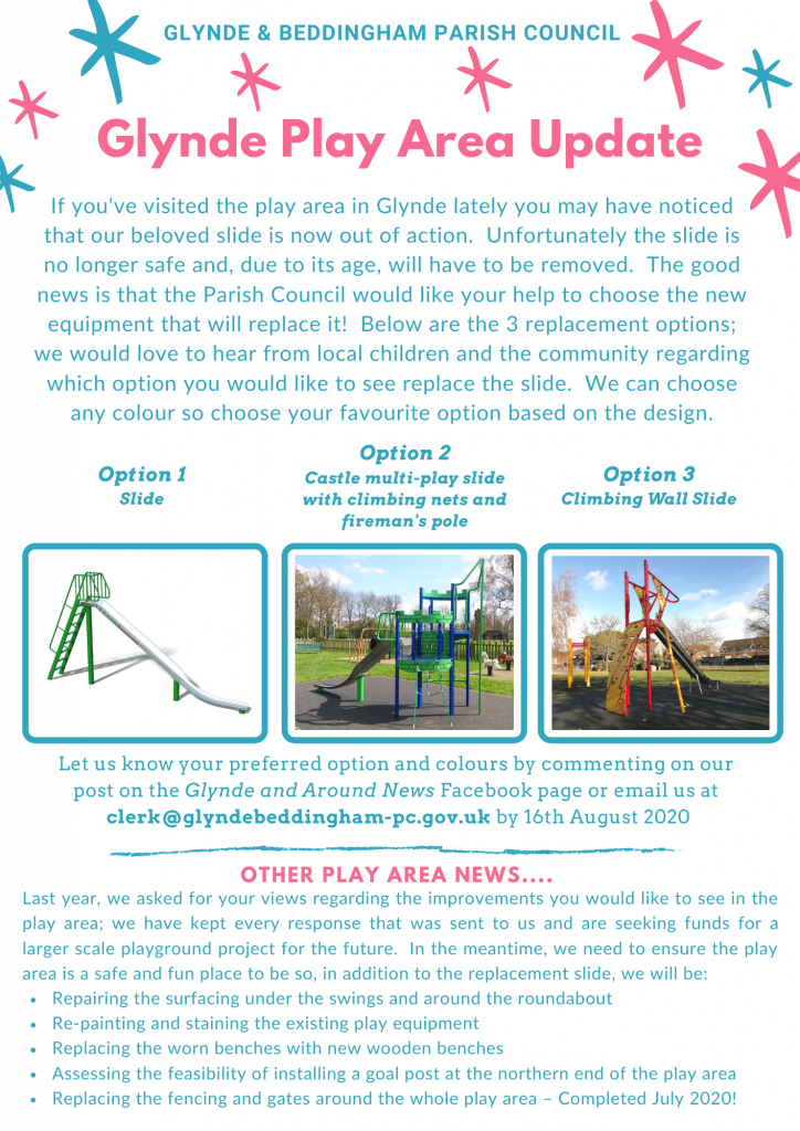 3 options for the replacement of the slide in Glynde Play Area