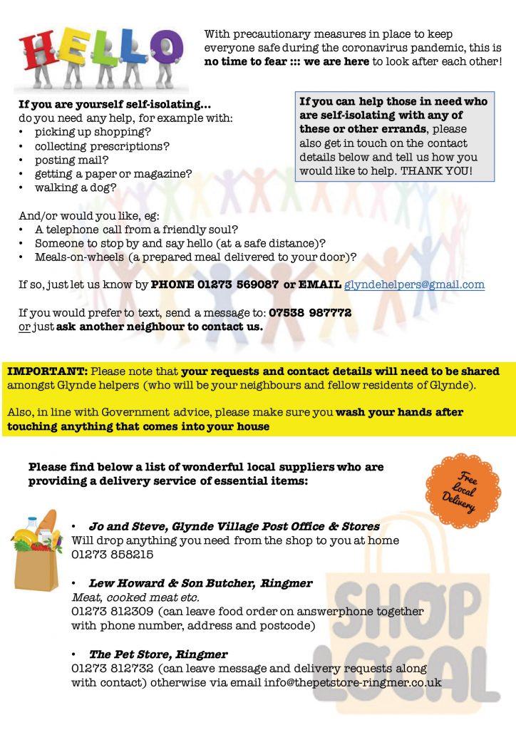 Glynde Helpers leaflet