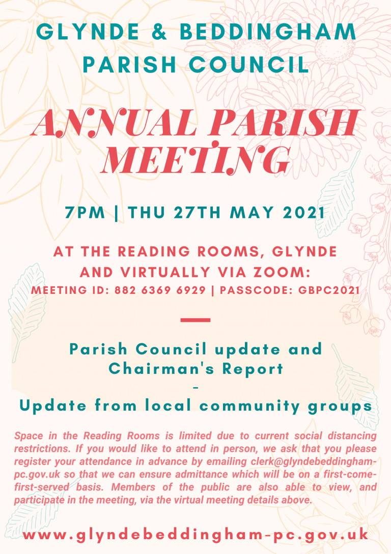 Annual Parish Meeting poster advertising annual meeting on 27th May 2021